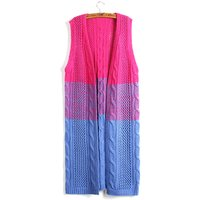 Women's Sleeveless Colorblock Knitted Cardigan