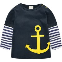Navy Anchor Stripe  Cotton Long-sleeve T-shirt