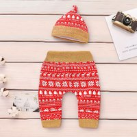 2 Pcs Gold Thread Waistband Red Pants and Hat Christmas Set