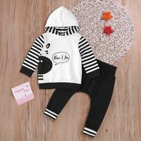 2 Pcs I'm Here Zebra Hooded Outfit