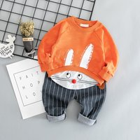 2-Piece Rabbit Top and Striped Pants Set