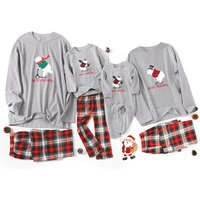 Bear Printed and Plaid Pants Sets Family Matching