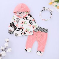 Floral Hooded Top Polka Dots Pants and Headband Set