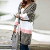 Color Block Long Size Woolen Cardigan