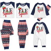 Stylish Elf Squad Print Christmas Family Matching Pajamas Set