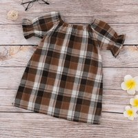 (Only 3 Left for 3-4Y) Color Blocked Short Sleeve Plaid Dress