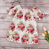 Charming Puff-sleeve Floral Dress