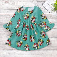 Flare Sleeve Floral Dress in Green