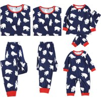 Cute Bear Pattern Family Matching Pajamas Set
