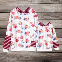 Floral Print Striped Matching Hoodie