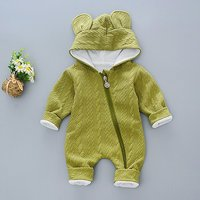 Solid Rabbit Ears Hooded Quilted Long Sleeve Thick Winter Jumpsuit