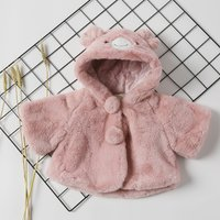 Plush Bear Ears Hooded Coat