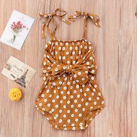 Big Bow Front Daisy Floral Bubble Romper in Brown