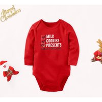 Baby Christmas Checklist Bodysuit in Red