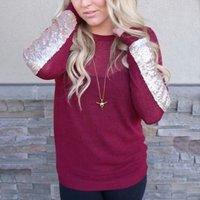 Sequin Sleeve Long Sleeve Thin Sweater