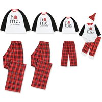 'Home' Letters Print Long-sleeve Top and Plaid Pants for Family Matching