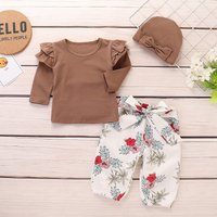 3-piece Ruffle Top and Bowknot Pants with Hat Set