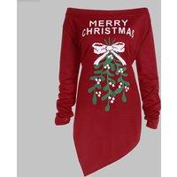 MERRY CHRISTMAS Strapless Shoulder Hypotenuse Dress