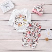 3 Pcs Little Wild Romper Floral Pants and Hat Outfit