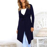 V-neck Lace-up Solid Long Coat