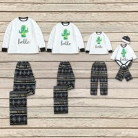 Cactus 'hello' Print Long-sleeve Top and Snowflake Pants Lounge Set for Family Matching