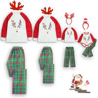 Reindeer Print Long-sleeve Top and Green Plaid Pants Lounge Set for Family Matching
