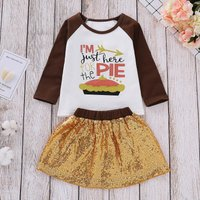2 Pcs Fun Just Be Here for The Pie Top and Sequins Skirt Set