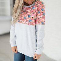 Trendy Flower Print Spliced Long Sleeves Top For women
