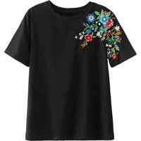 Easy and Chic Embroidered Short-sleeve T-shirt