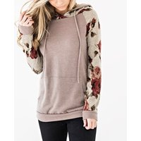 Stylish Floral Print Hooded Long-sleeve for Women