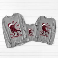 Plaid Tyrannosaurus Rex Family Long Sleeve T-shirts
