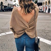 Stylish Solid Color Back Crossover Backless V-neck Sweater for Women