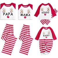 Christmas Deer and Letter Printed Red Stripe Pajama Set for Family