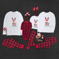 Lovely Deer  'Merry Christmas' Print Long-sleeve and Plaid Pant Set for Family Matching