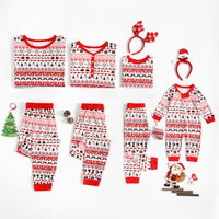 Stylish Christmas Style Long-sleeve Top Pants and Jumpsuit Pajamas for Family Matching