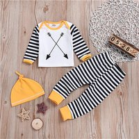 3 Pcs Arrow Print Top and Striped Pants and Hat Set