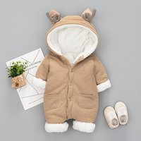 Warm Thick Plush Lined Deer Hoodie Jumpsuit