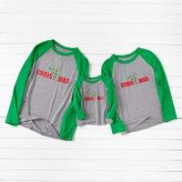 Christmas Print Green Sleeve Family T-shirts