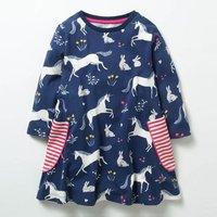 Unicorn Stripe Pocket Girls Dress