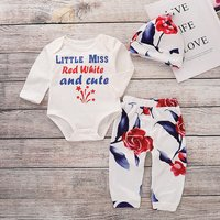 3 Pcs Cute Little Miss Romper Floral Pants and Hat Winter Outfits
