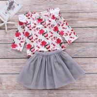 2 Pcs Ruffle Shoulder Floral Romper and Tulle Skirt Set