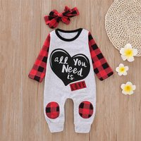 Checkered Love Jumpsuit with Headband