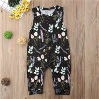 Round Collar Sleeveless Floral Jumpsuit