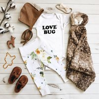 2 Pcs Short Sleeve Love Bug Romper and Floral Pants Set