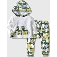 2-piece Cat Print Hooded Top and Pants Set