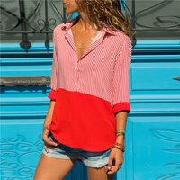 Vertical Stripes Color Block Chiffon Shirt