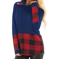Solid Color Plaid Stitching Knit Sweatshirt Pullover