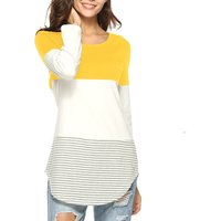 Striped Color Blocked Round Neck Long-sleeve Tee