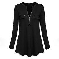 Women's Long Sleeve Zipper Pullover Top