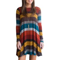 A-line Striped Color Blocked Above Knee Round Neck Long-sleeve Dress